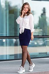 Вязаная юбка мини «Миледи» синий