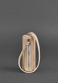 Женская кожаная женская ключница 3.0 Тубус светло-бежевая - BN-KL-3-crem-brule