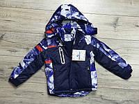 Зимняя куртка на синтепоне из водоотталкивающей ткани. Внурти мех травка. Съемный капюшон. 4-года.