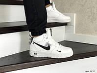 Мужские зимние кроссовки белые с черным Nike Air Force 8470
