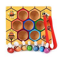 Развивающая деревянная игра сортер Пчелиный улей
