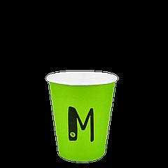 "Стакан бумажный ""M"" Зеленый 250мл. Евро 50шт/уп (1ящ/20уп/1000шт) (FiB 80/КВ79/""РОМБ"" 79)"