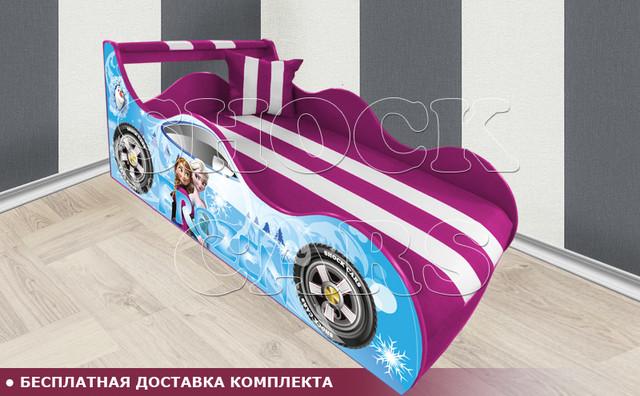 Кровать машина ХОЛОДНОЕ СЕРДЦЕ ШОК с матрасом в комплекте купить киев украина