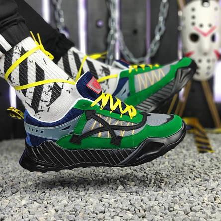 Кроссовки мужские Adidas & OFF-White зеленые-синие (Top replic), фото 2