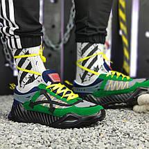 Кроссовки мужские Adidas & OFF-White зеленые-синие (Top replic), фото 3