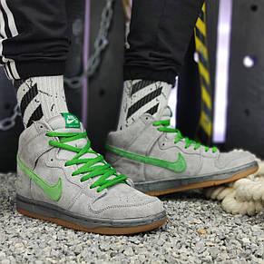 Кроссовки мужские Nike SB серные-зеленые шнурки (Top replic), фото 3