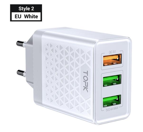TOPK Quick Charge 3.0 3А 28Вт B354Q быстрое зарядное устройство на 3 usb порта Цвет Белый блок адаптер питания