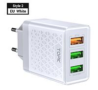 TOPK Quick Charge 3.0 3А 28Вт B354Q быстрое зарядное устройство на 3 usb порта Цвет Белый блок адаптер питания, фото 1