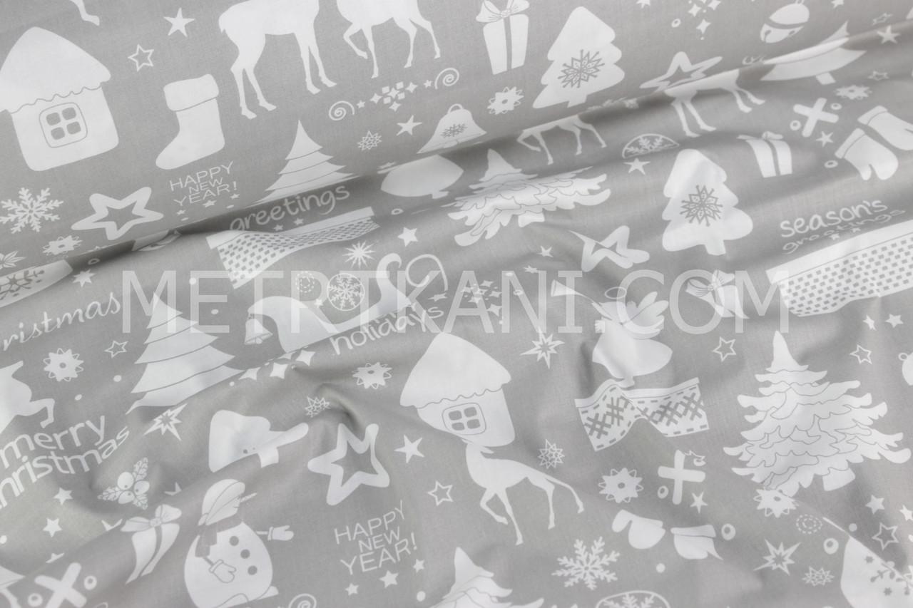 "Новогодняя ткань  ""Merry Christmas "" фон серый № 699"