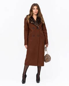 Зимнее женское пальто из шерсти с леопардовым воротником 44-48 р