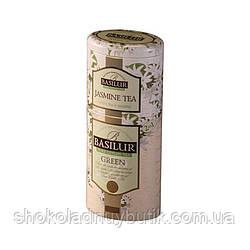 Чай зеленый Basilur Зеленый жасмин 2в1, коллекция Цветы и Фрукты Цейлона, ж/б 50г+75г