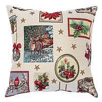 Наволочка декоративная двусторонняя с новогодним принтом Рождественские традиции
