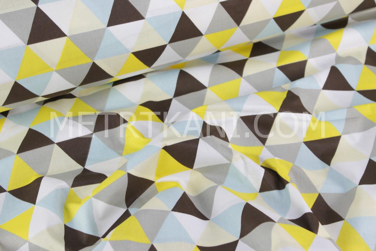 """Польский хлопок """"Треугольники"""" серого, желтого, чёрного цвета №707"""