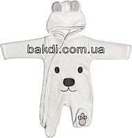 Детский тёплый человечек рост 62 (2-3 мес.) махра белый на мальчика/девочку (слип) с капюшоном для новорожденных М-001