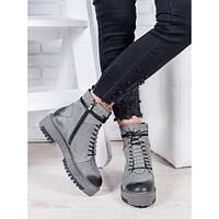 Женские ботинки из натуральной кожи в стиле Dr Martens (Доктор Мартинс) серого цвета