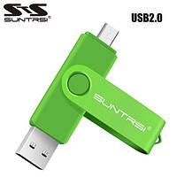 USB OTG флешка Suntrsi 32 Gb micro USB Цвет Зелёный ОТГ для телефона, фото 1