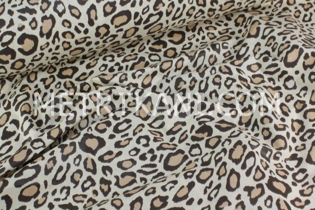 """Хлопковая ткань """"Леопард"""" коричнево-бежевый  №582"""
