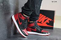 Кроссовки мужские Nike Air Jordan 1 Retro High OG (черно/красные)