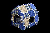 """Домик-лежак (лежанка) для котов и собак Мур-Мяу """"Будочка"""" Синий"""
