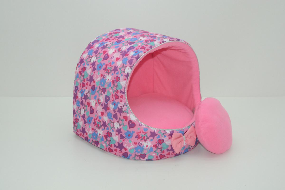 Будка для кошек и собак Звездочка розовая №1 360х320х320