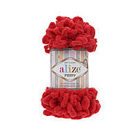 Пряжа для вязания руками (100%-микрополиэстер, 100г/9,2м) Alize PUFFY 56 (красный)
