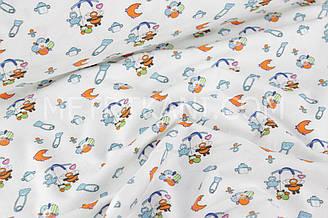"""Фланель для постельного """"Детские игрушки"""" на белом фоне  180 см №2-1221"""