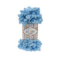 Пряжа для вязания руками (100%-микрополиэстер, 100г/9,2м) Alize PUFFY 16 (голубой Сочи)