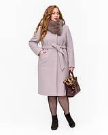 Зимнее классическое женское пальто батал с меховым воротником 50-54 р