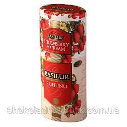 Черный чай Basilur Рухуну и Клубника 2в1, коллекция Цветы и фрукты Цейлона, ж/б 50г+75г
