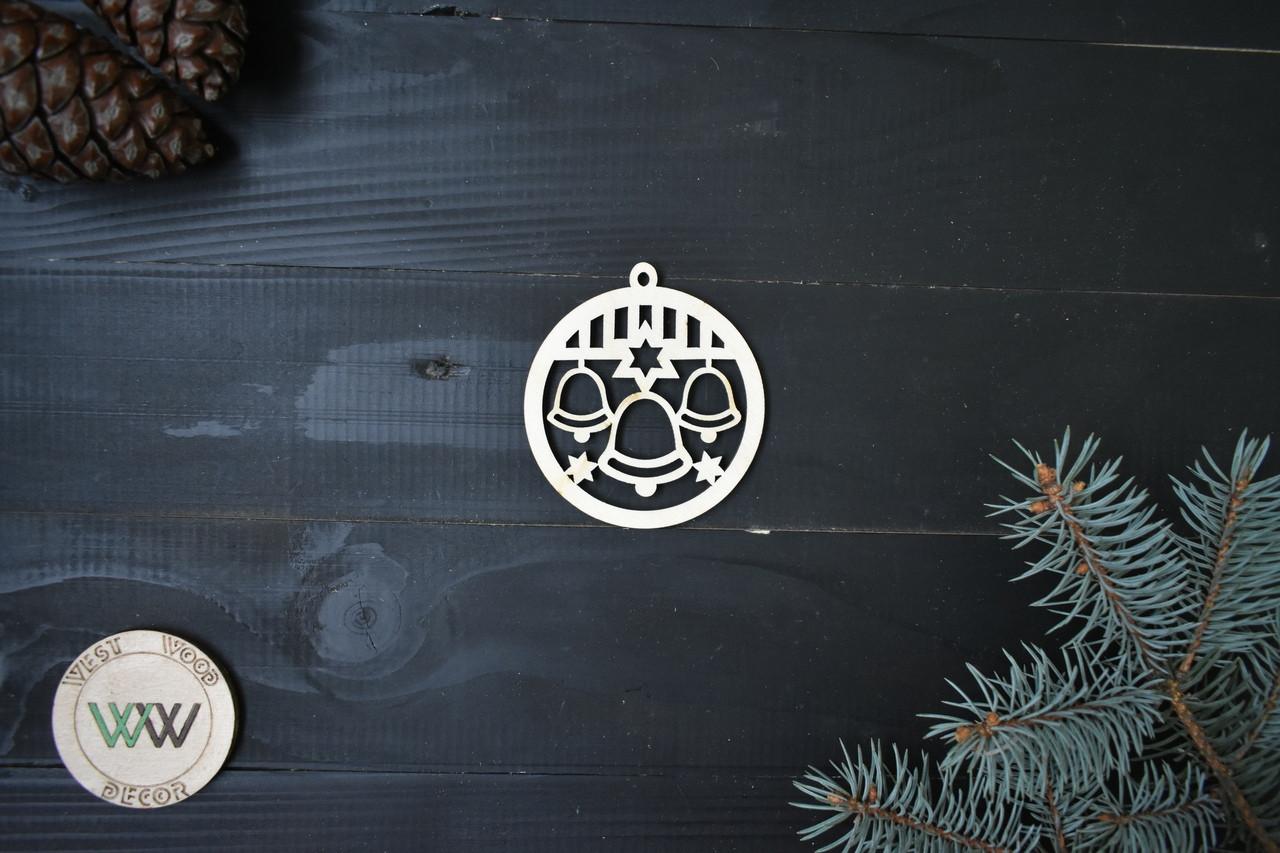 Шарик из фанеры на ёлку с колокольчиками, новогодний декор, ЭКО игрушки на ёлку, ёлочные украшения из дерева.