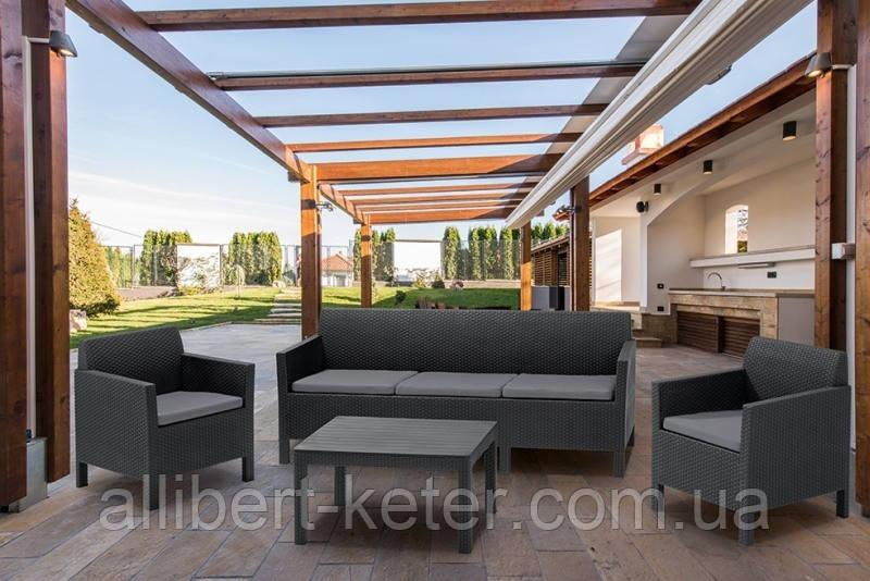 Набір садових меблів Orlando 3 Seater Set зі штучного ротанга ( Allibert by Keter )