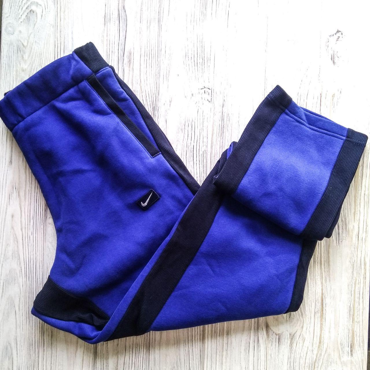 Штаны мужские спортивные Nike чёрный/синий цвет (зима)