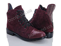 """Ботинки демисезонные женские """"Ailaifa"""" #66-258. р-р 36-41. Цвет бордовый. Оптом"""