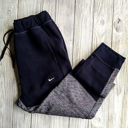 Штаны мужские спортивные Nike серый/т-синий (зима), фото 2