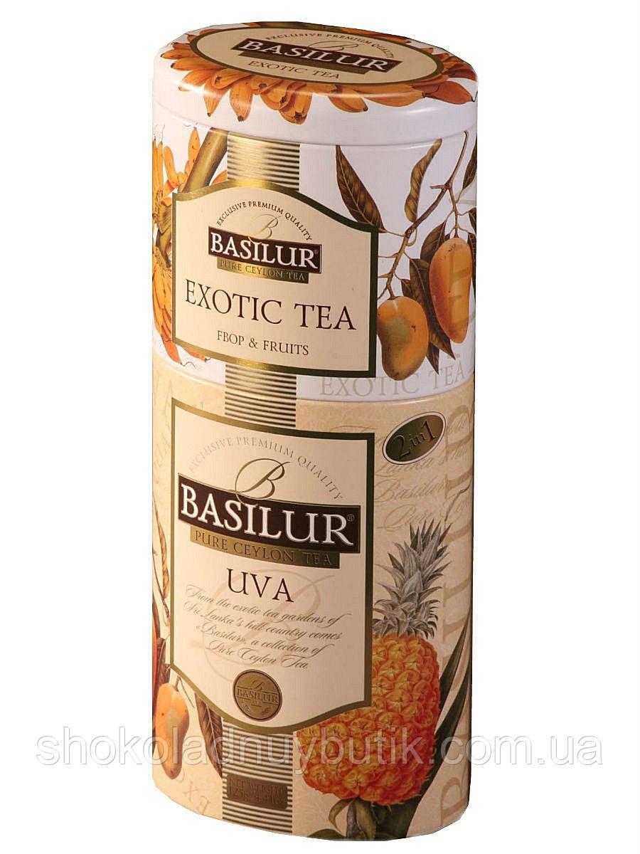 Черный чай Basilur Ува и Экзотик 2в1, коллекция Цветы и фрукты Цейлона, ж/б 50г+75г