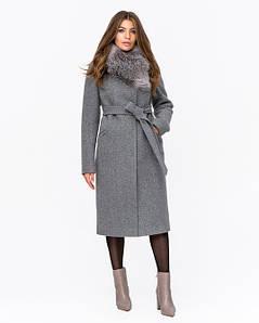 Женское зимнее классическое пальто с поясом 44-48 р