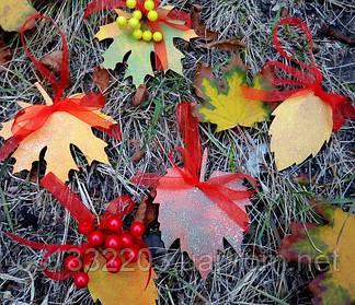 Декор листок виноградний пофарбований (фанера 4мм, 8*11см)