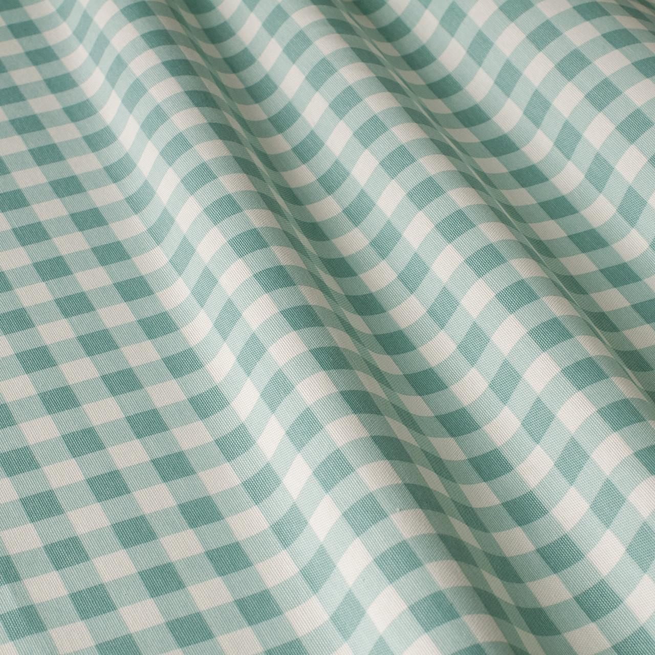 Декоративна тканина в дрібну клітку біло-зеленого кольору 180 см 84579v33