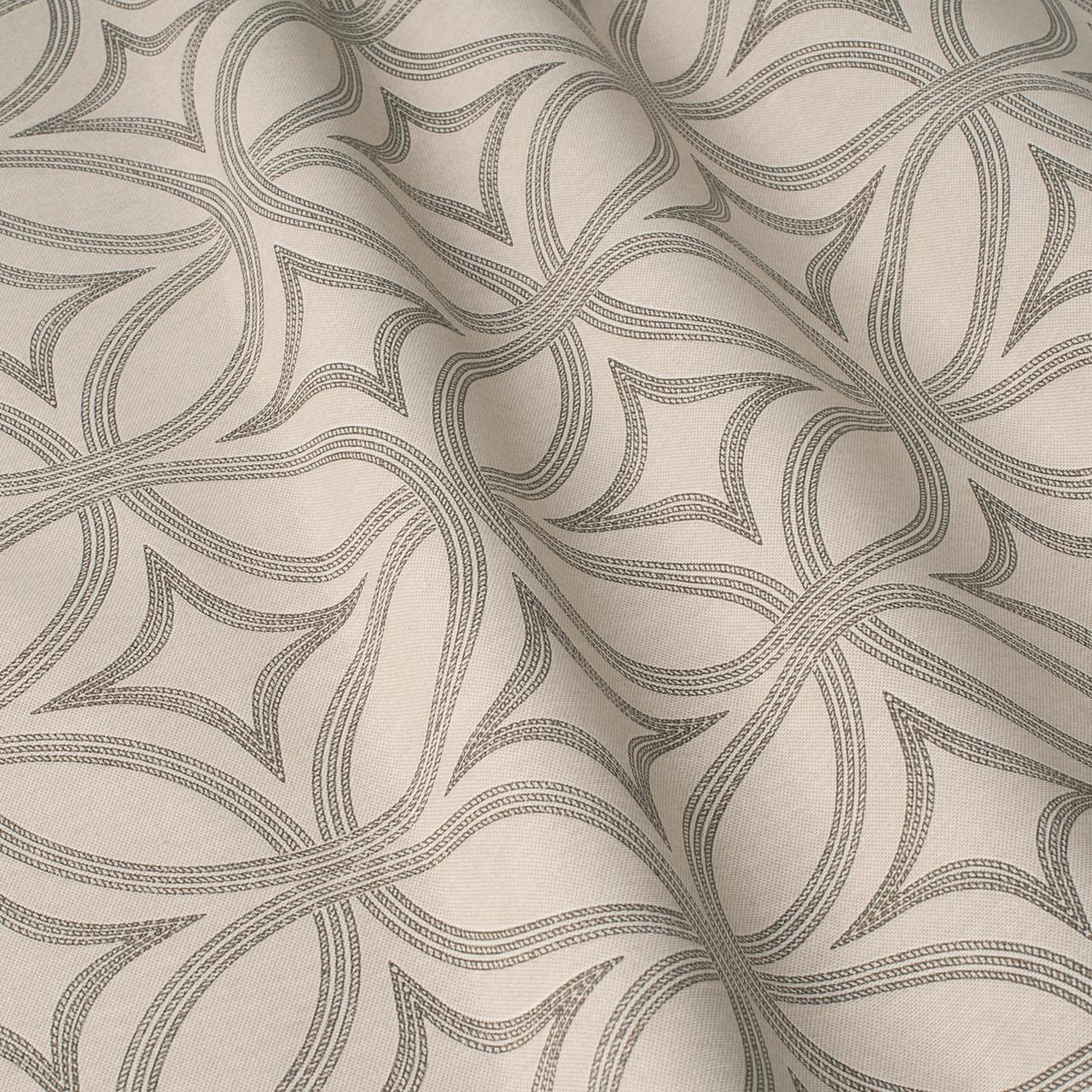 Декоративная ткань серые круги с узорами на бежевом фоне Турция 84590v30