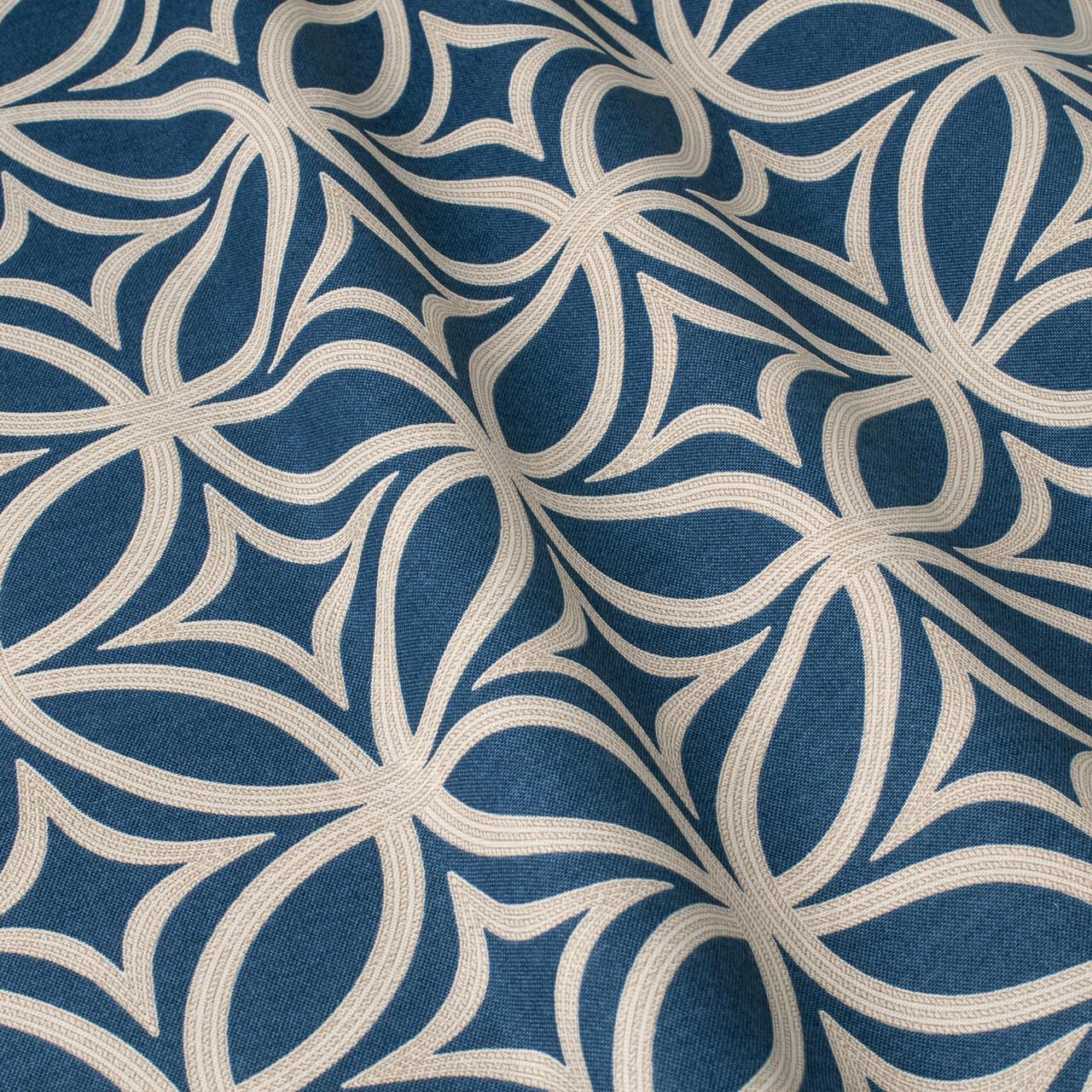 Декоративная ткань белые круги с узорами на синем фоне Турция 84588v28