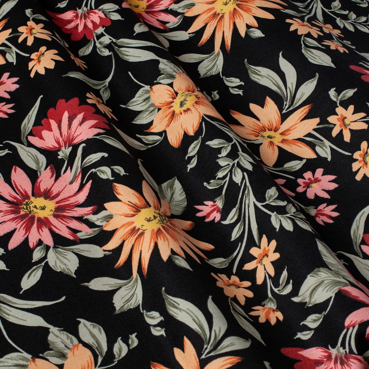 Декоративная ткань оранжевые и бордовые цветы на черном 180см 84497v1