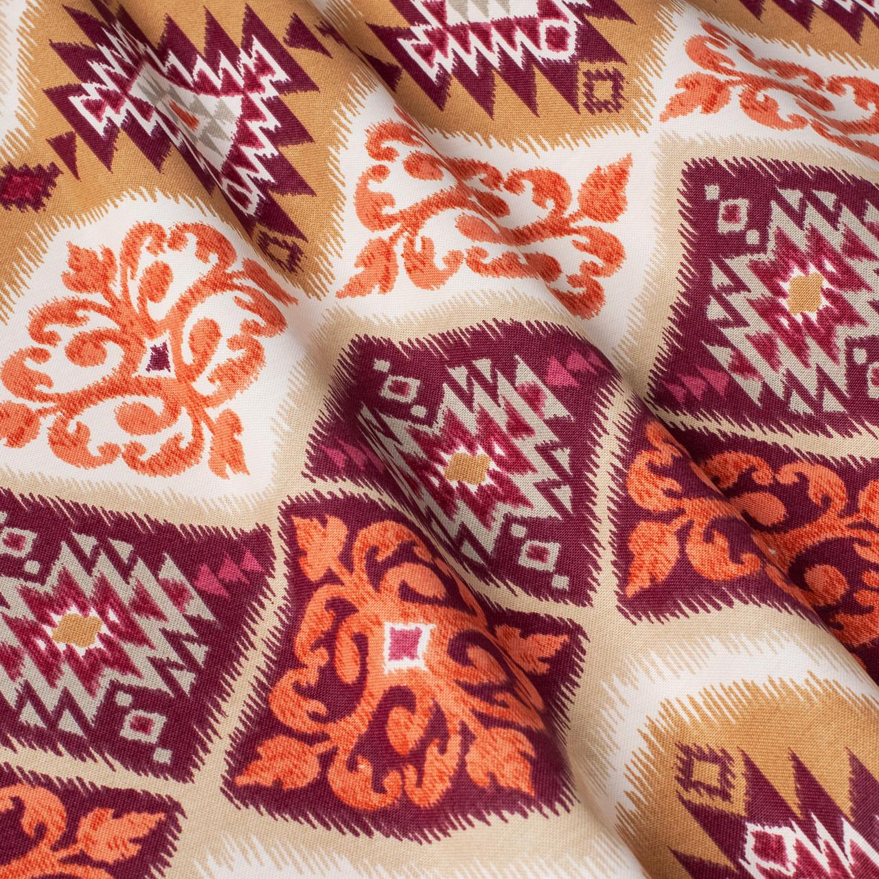 Декоративная ткань пэчворк бордового и оранжевого цвета 180см 84495v2