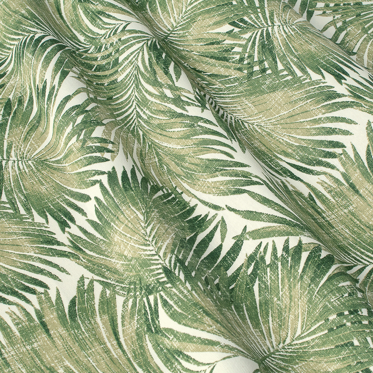 Декоративная ткань зеленые пальмовые листья на белом Турция 84492v2