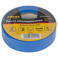 ПВХ изолента синяя 0,13мм×19мм×20м Premium Sigma 8411411