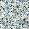 Декоративная ткань с мелким голубым цветочным узором на белом 180см 84487v2, фото 2