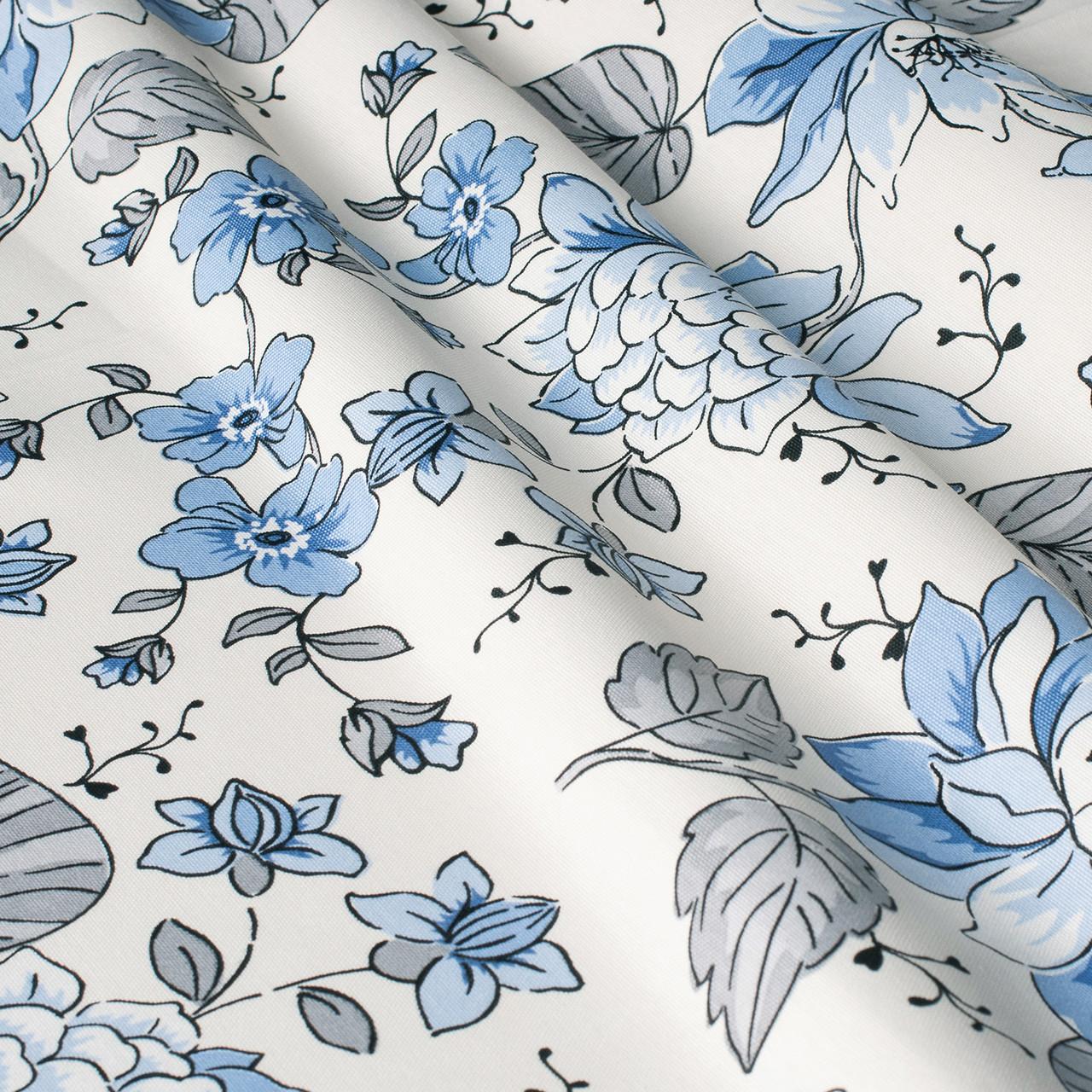 Декоративная ткань с мелкими голубыми цветами на белом 180см 84489v1