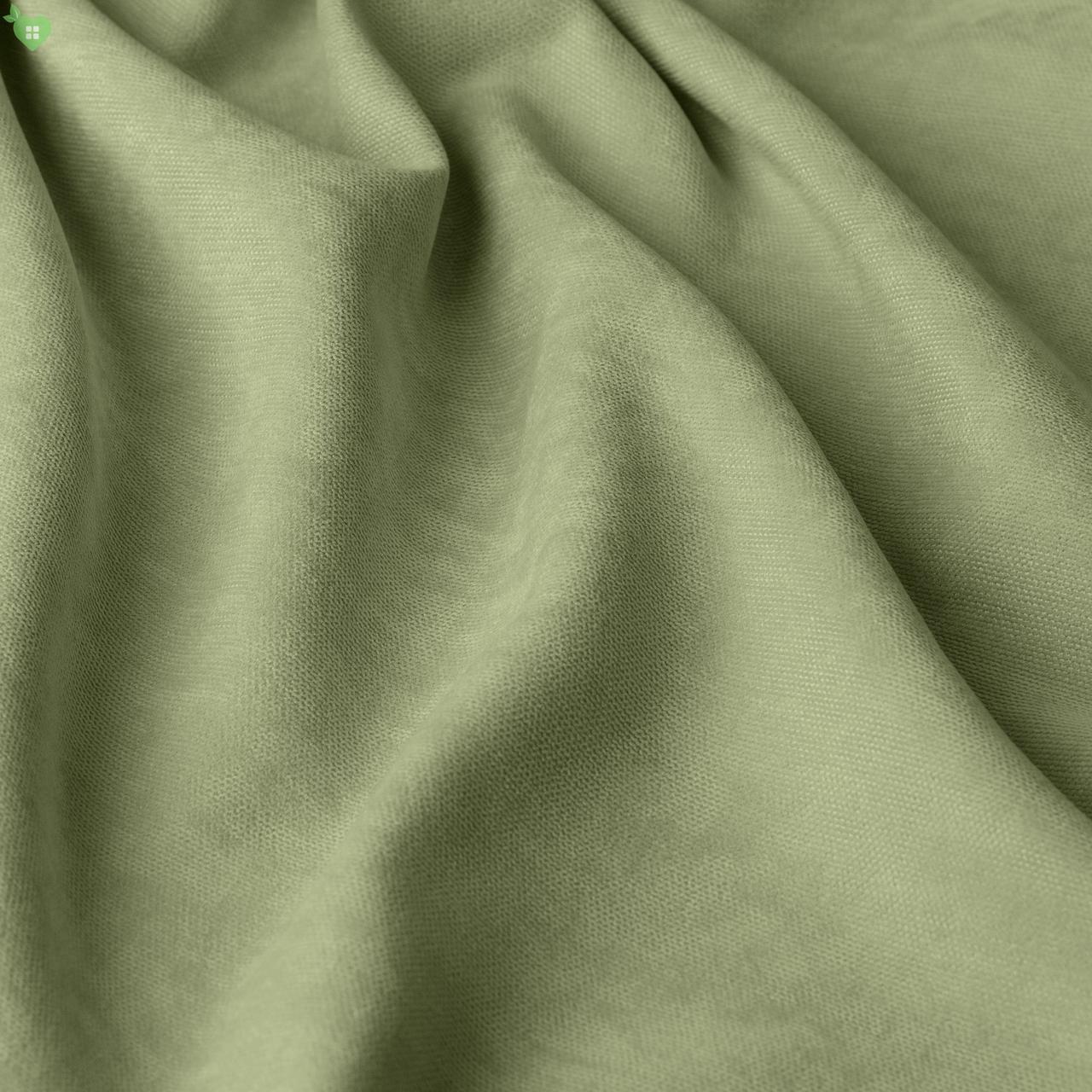 Однотонная декоративная ткань велюр оливково-зеленый 84371v25