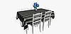 Уличная декоративная ткань полоса серая черная и белая 84328v5, фото 5