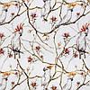 Декоративная ткань с крупными белыми попугаями на веточках 84304v1, фото 3