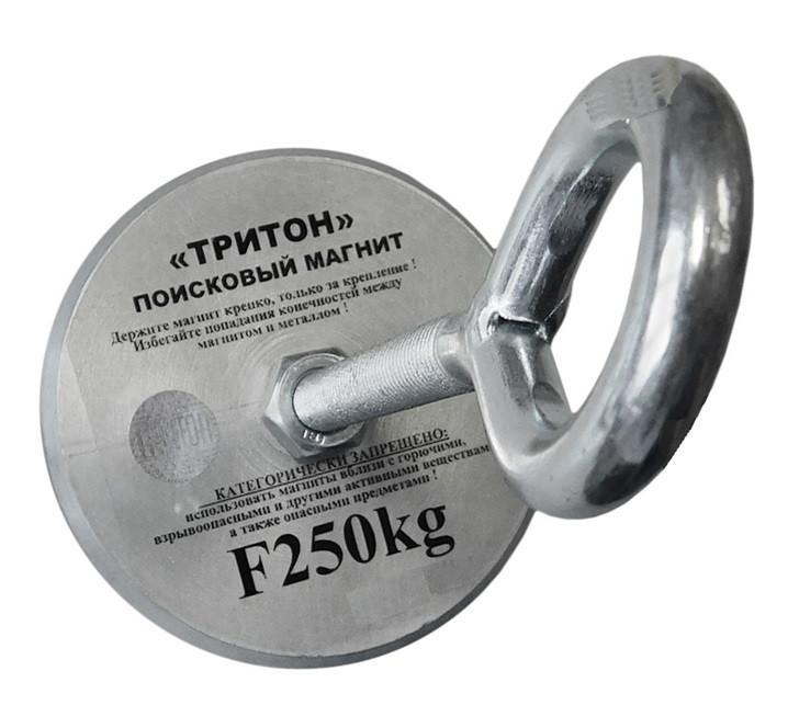 Односторонний поисковый магнит ТРИТОН F250, 350кг, N42, ТРОС В ПОДАРОК!